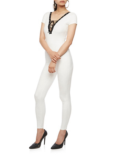 Solid Lace Up Catsuit,WHITE,large