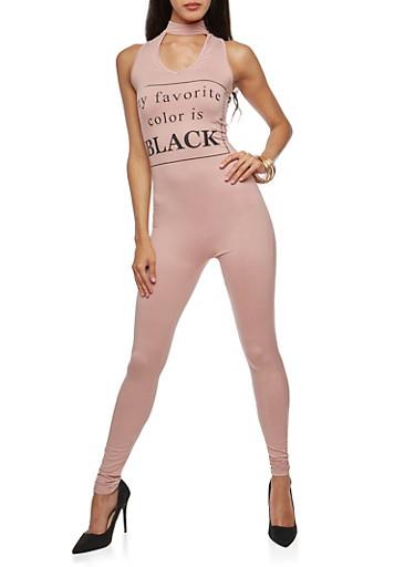 My Favorite Color is Black Graphic Catsuit,MAUVE,large