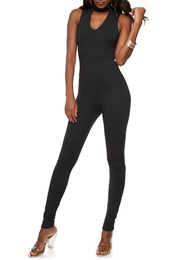 Soft Knit Back Zip Catsuit,BLACK,large