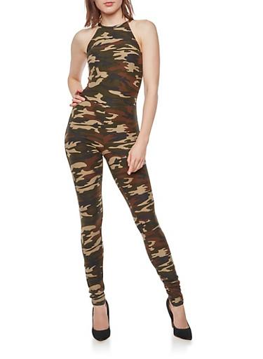 Sleeveless Camo Print Jumpsuit,CAMOUFLAGE,large