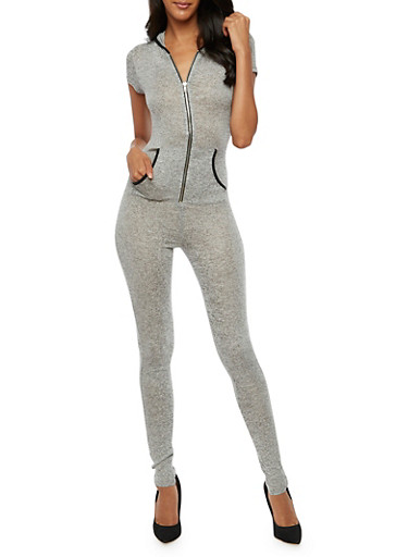 Hooded Short Sleeve Jumpsuit,GRAY,large