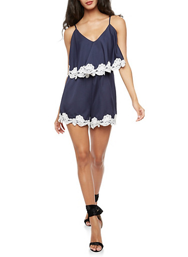 Sleeveless Romper with Lace Trim at Rainbow Shops in Daytona Beach, FL | Tuggl