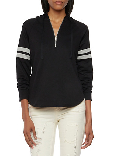Almost Famous Hoodie with Half Zip,BLACK,large