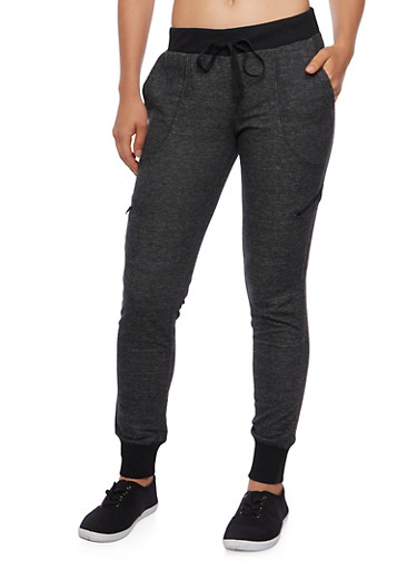 Almost Famous Joggers with Zipper Pockets,BLACK/CHARCOAL,large