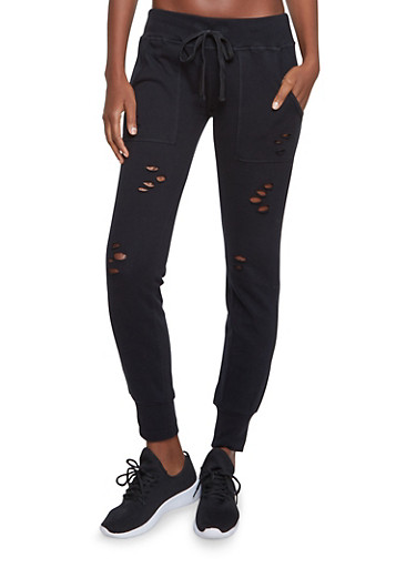 Almost Famous Distressed Joggers,BLACK,large
