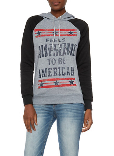 Graphic Color Block Hoodie with American Print,MED HEATHER,large