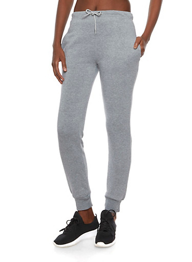 Slim Joggers with Printed Waistband,MED HEATHER,large