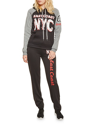 Color Block Hoodie with East Coast NYC Graphic,BLACK,large