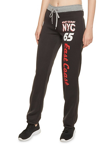Sweatpants with East Coast NYC Graphic,BLACK,large