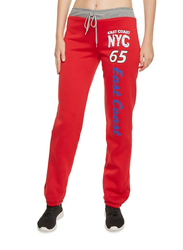 Sweatpants with East Coast NYC Graphic,RED,large