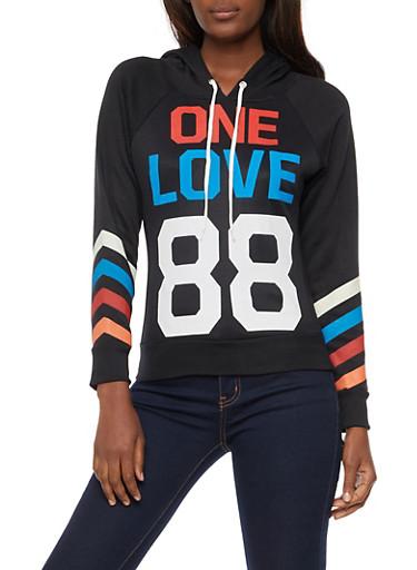 One Love 88 Graphic Hooded Sweatshirt,BLACK,large