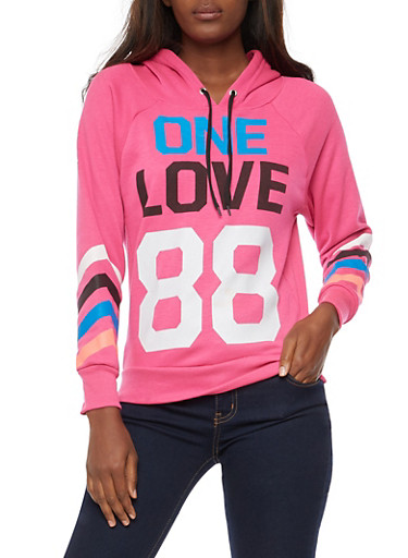 One Love 88 Graphic Hooded Sweatshirt,PINK,large