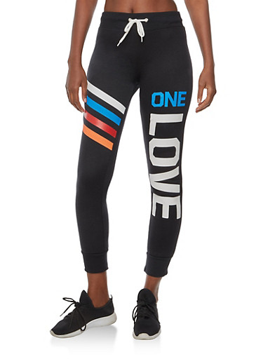 One Love Graphic Sweatpants,BLACK,large