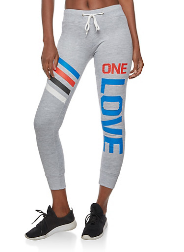 One Love Graphic Sweatpants,HEATHER,large