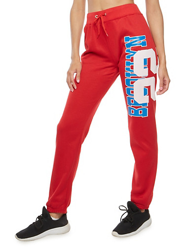 Brooklyn 22 Graphic Sweatpants,RED,large