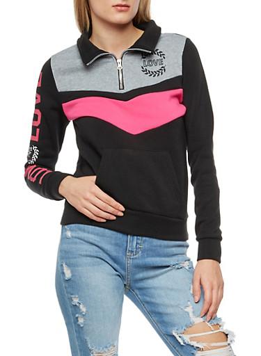 Love Graphic Striped Chevron Pullover Sweatshirt,PINK,large