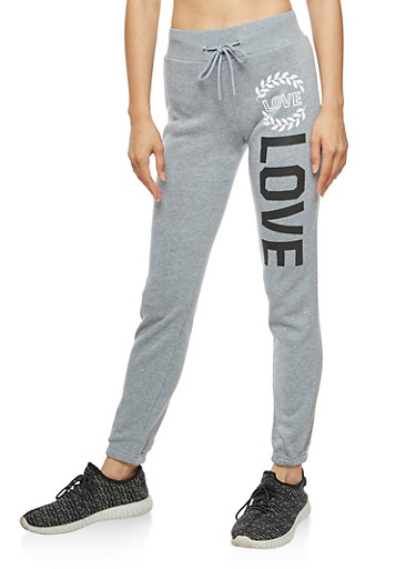 Soft Knit Love Graphic Joggers,HEATHER,large