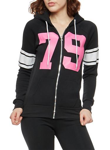 79 Graphic Zip Front Sweatshirt,BLACK,large