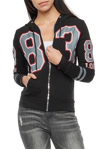 83 London Graphic Fleece Hooded Sweatshirt,BLACK,large
