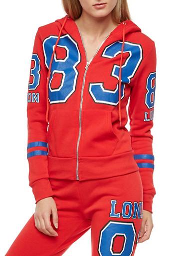 83 London Graphic Fleece Hooded Sweatshirt,RED,large