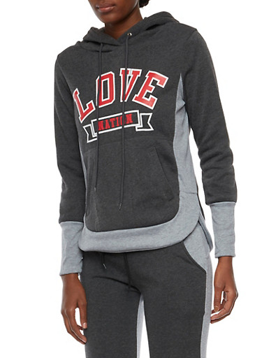 Color Block Hoodie with Love Nation Graphic,CHARCOAL,large