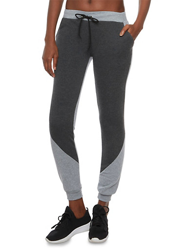Color Block Joggers in Slim Fit,CHARCOAL,large