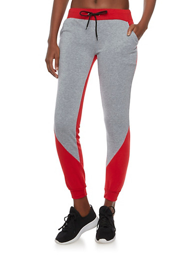 Color Block Joggers in Slim Fit,RED,large