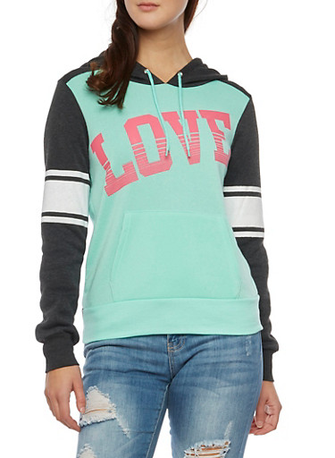 Raglan Sleeve Hoodie with Love Graphic,CHARCOAL,large
