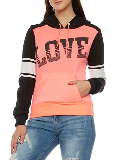 Raglan Sleeve Hoodie with Love Graphic,CORAL,large