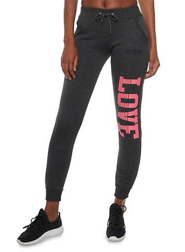 Slim Joggers with Love Graphic,CHARCOAL,large