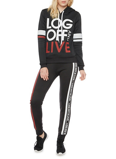 Striped Hoodie with Log Off and Live Graphic,BLACK,large