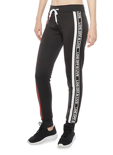 Joggers with Log Off And Live Graphics,BLACK,large