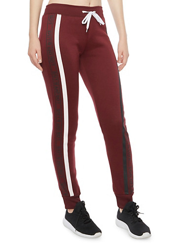 Joggers with Log Off And Live Graphics,BURGUNDY,large