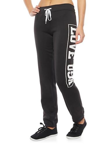 Drawstring Sweatpants with Love USA Graphic,BLACK,large