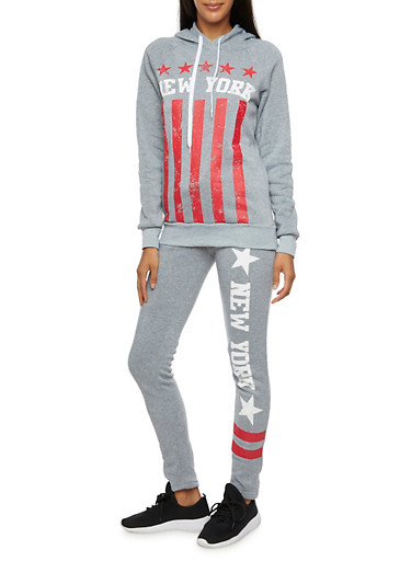 Hoodie with New York Flag Graphic,HEATHER,large