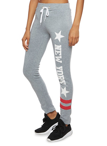 Fleece Sweatpants with New York Graphic,HEATHER,large