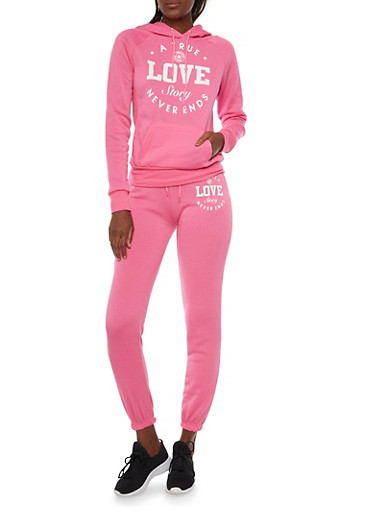 Raglan Hoodie with Love Story Graphic,PINK,large