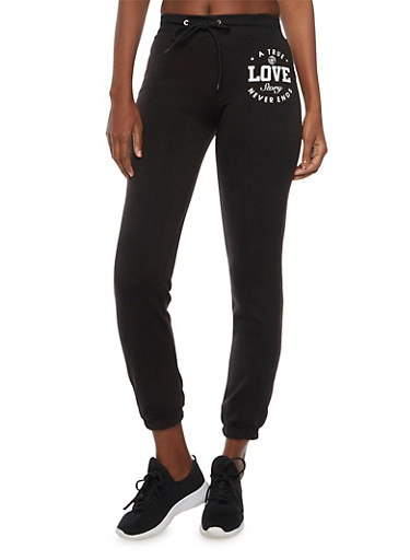 Joggers with True Love Graphic,BLACK,large