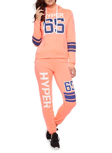 Hoodie with Hyper 65 Graphic,CORAL,large