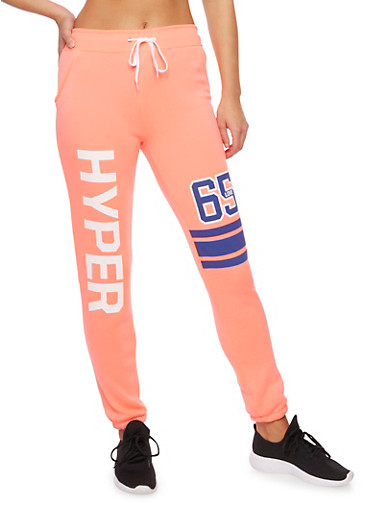 Knit Sweatpants with Graphics,CORAL,large