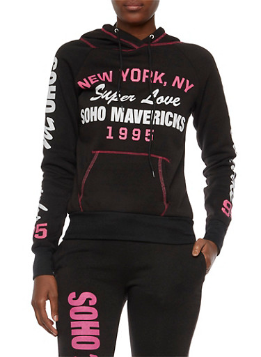 Fleece Lined Hoodie with Soho Mavericks Graphic,BLACK,large