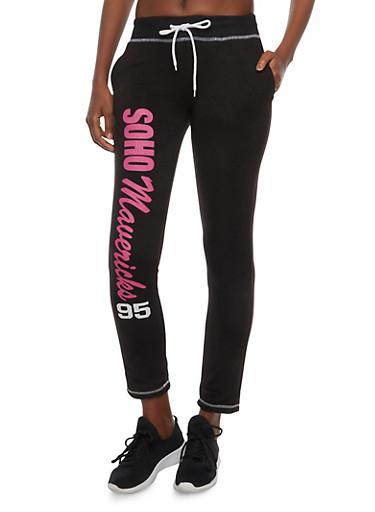 Fleece Lined Joggers with Soho Mavericks 95 Graphic,BLACK,large