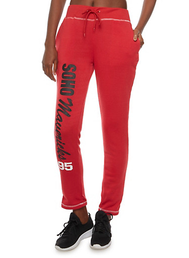 Fleece Lined Joggers with Soho Mavericks 95 Graphic,RED,large