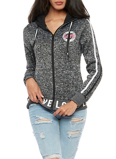 Love Zip Up Hooded Sweatshirt,CHARCOAL/BLACK,large