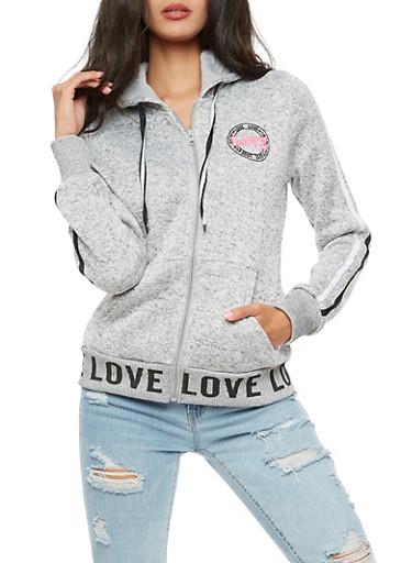 Love Zip Up Hooded Sweatshirt,HEATHER,large