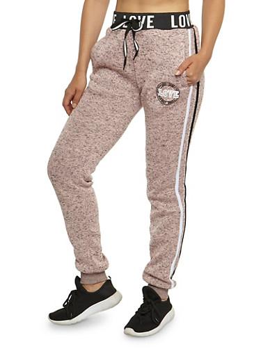 Love Athletic Graphic Sweatpants,MAUVE,large