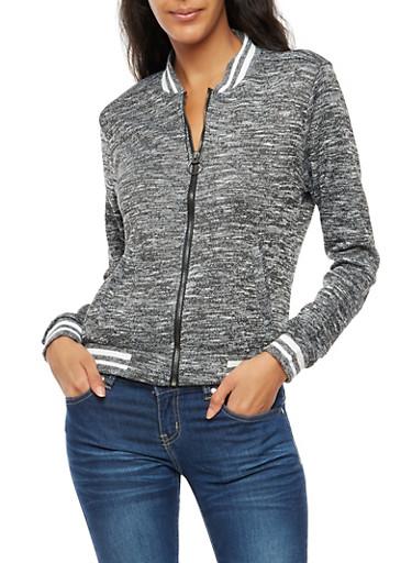 Varsity Stripe Marled Jacket,BLACK,large