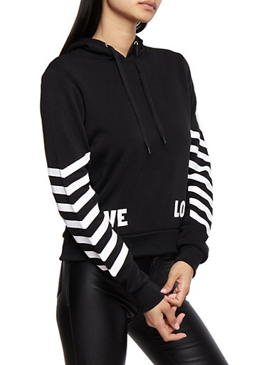 Soft Knit Love Graphic Sweatshirt with Chevron Sleeve Detail,BLACK,large