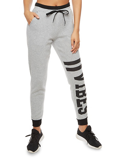 Graphic Vibes Sweatpants with Contrast Waistband,HEATHER,large