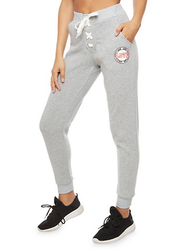 Lace Up Love Graphic Sweatpants,HEATHER,large